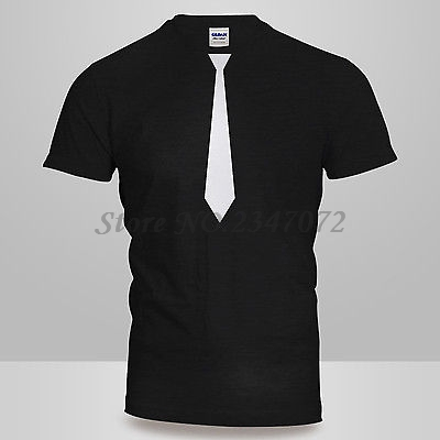 d5020c2f8 New Mens or Womens Unisex Novelty BLACK & WHITE TIE Funny T-Shirt Fancy  Dress Free Shipping
