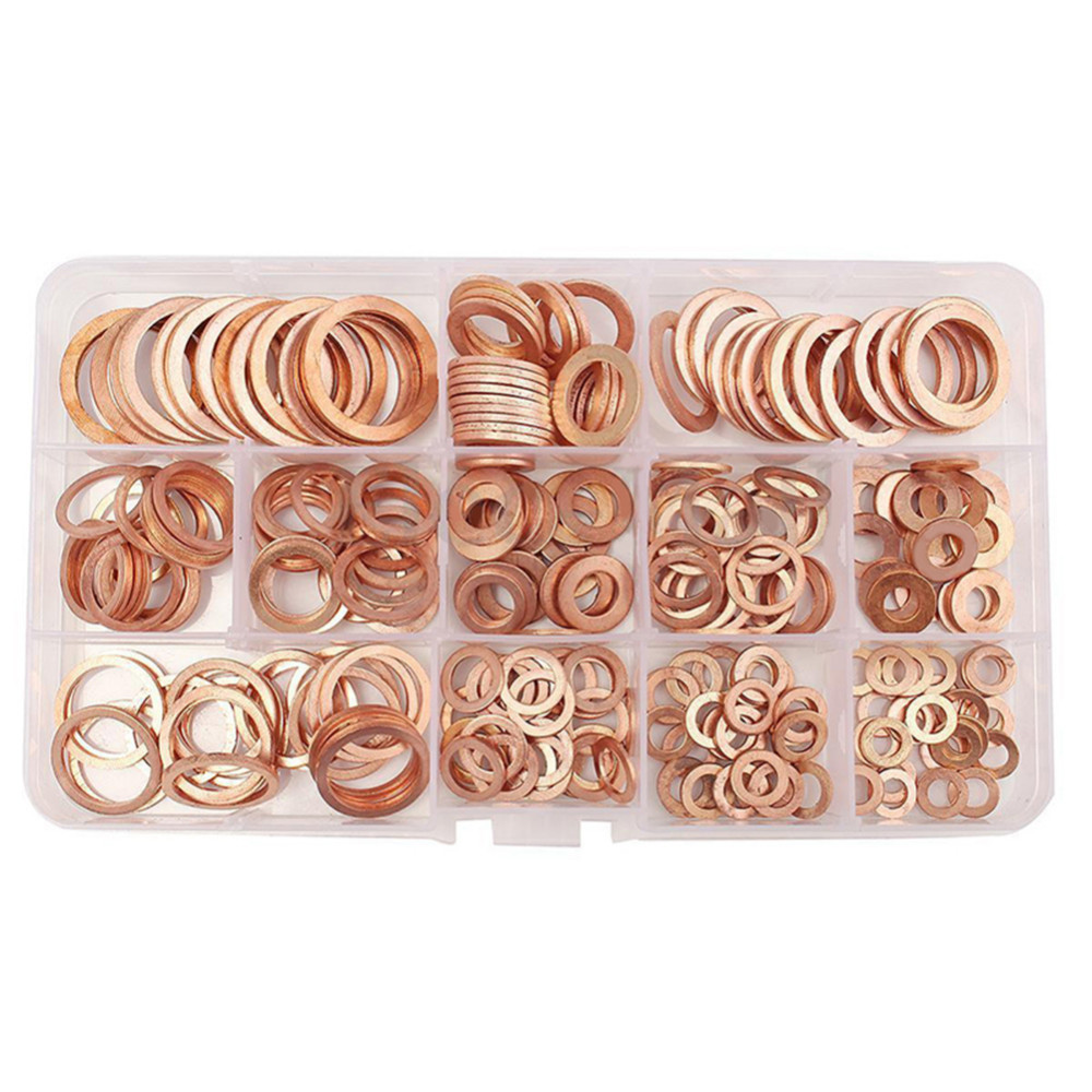 120PCS/Pack Assorted Solid Copper Garage Engine Washer Car Repair Tools Oil Seal Sheet Gaskets With Box For Hardware Accessories