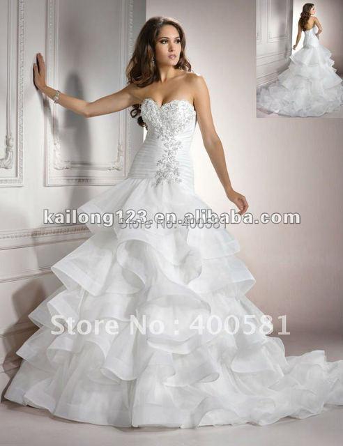Charming Sweetheart Ball Gown Chapel train Layered Ruching Beaded ...