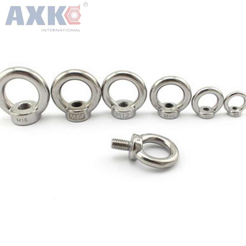 AXK 20pcs/lots M10*18 304 Stainless Steel Lifting Eye Bolts Round Ring Hook Bolt 1pcs m10 60 70 150 304 stainless steel ring expansion bolts explosion proof screws ring expansion rings