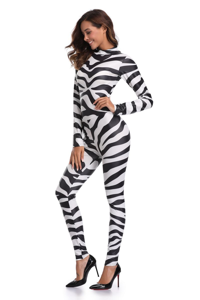 cef69916c7db Free Shipping Sexy Halloween Zebra Print Jumpsuit Women Catsuit Party Fancy  Dress Playsuit 3S1822-in Sexy Costumes from Novelty   Special Use on ...
