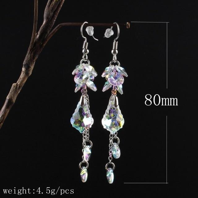 женские длинные серьги с австрийскими кристаллами модные роскошные фотография