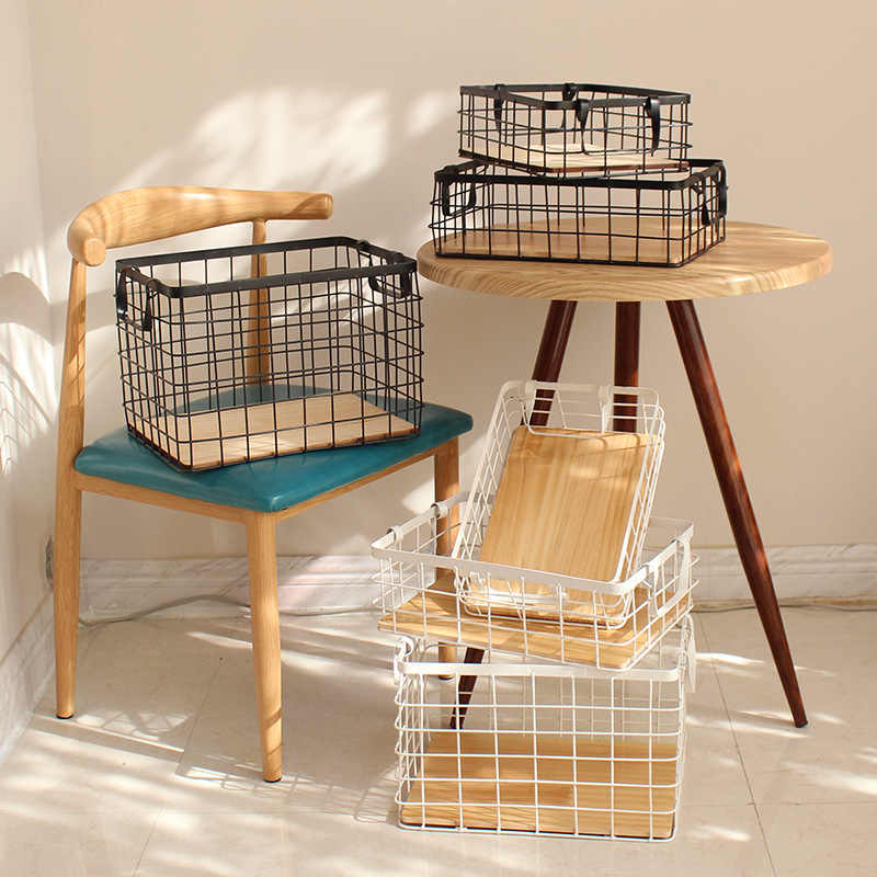 Multi-Size Simple Wrought Iron Storage Basket Books Cosmetics Clothing Fruit Storage Basket Home Storage Basket