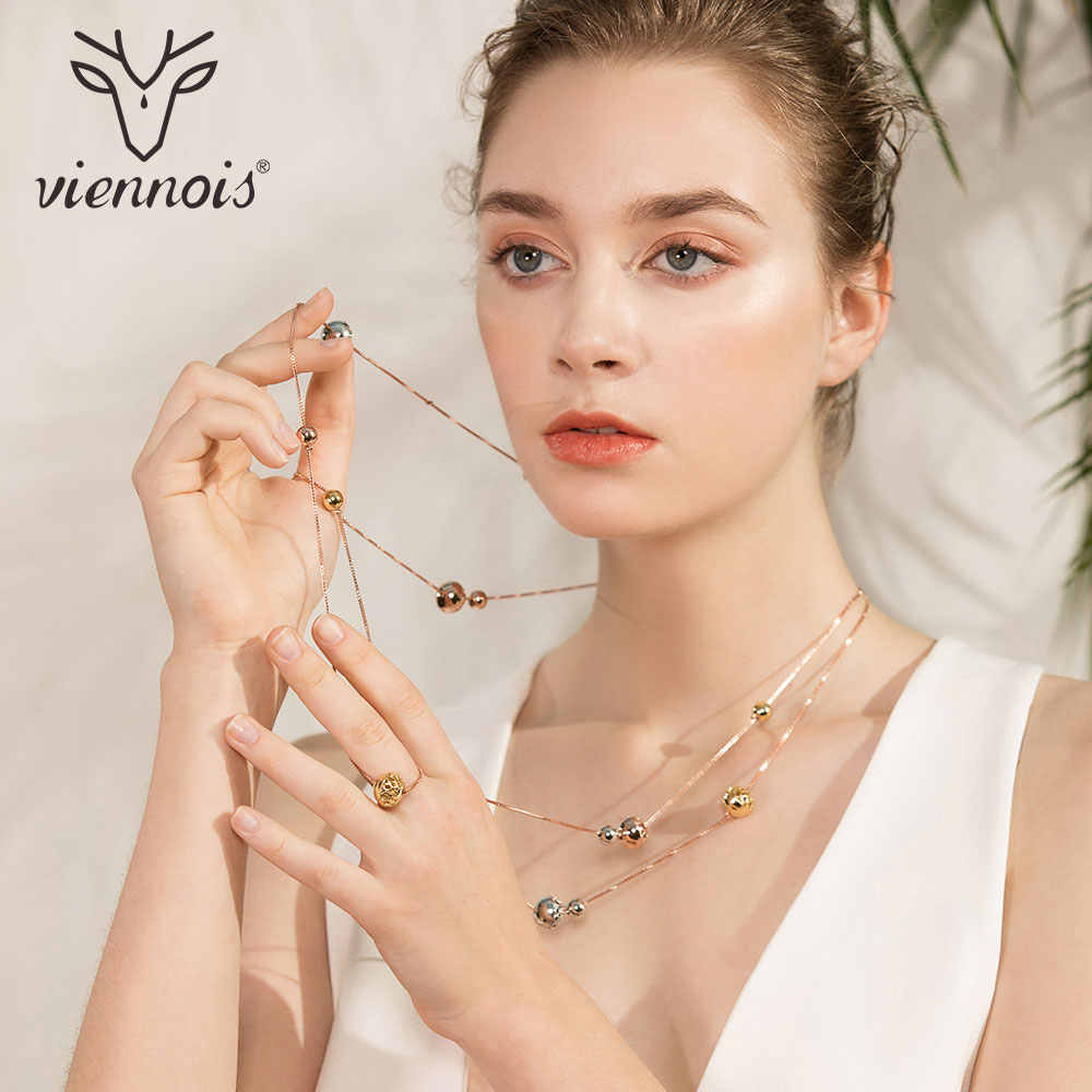 Viennois New Round Sweater Chain Rose Gold  Long Necklace For Women Trendy Style Female Party Jewelry