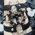 Mujeres Harajuku Color de La Pierna de Metal Punk Mujeres Ligas ligas Cinturones de cuero Sexy Moda 2015 Nuevos Anillos de la pierna