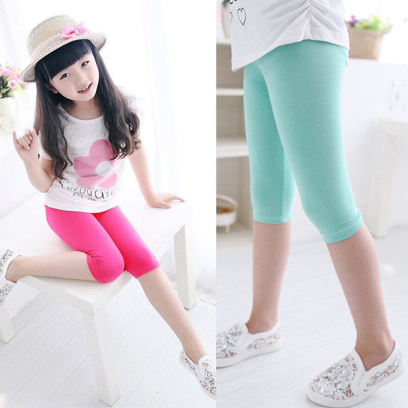 3-10years Girls Knee Length Kid Five Pants Candy Color Children Cropped Clothing Spring-Summer All-matches Bottoms Leggings 6