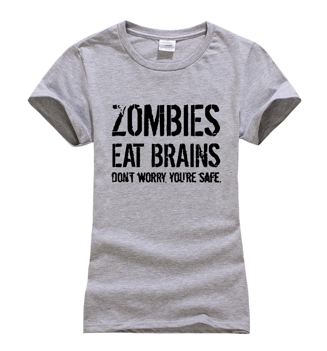 Zombies Essen Gehirn sie sind sicher druck frauen t-shirt 2017 ...