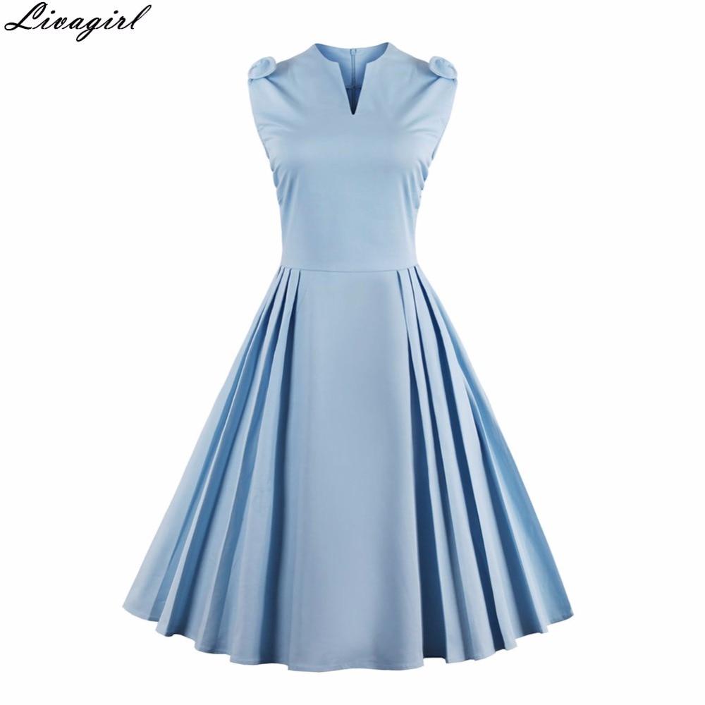 LivaGirl Women Vintage Dress Summer Elegant 1950s Retro Sleeveless ...