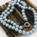 8mm shell round simulated-pearl light sky blue beads necklace for women statement clavicle chain choker diy jewelry 18inch B3217
