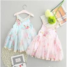 New 2017 Baby Girls Lace Floral Dresses Kids Girls Princess tutu Party Dress Babies Christmas clothing Children's clothes