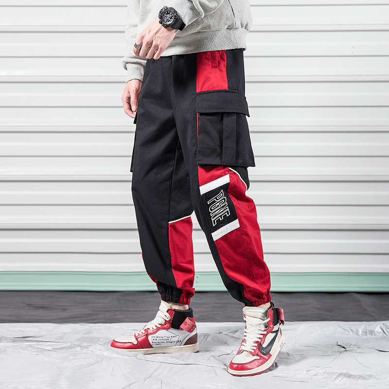 Cargo-Pants Men Trousers Japanese Black Sports Male Multi-Pocket for Red Harajuku Summer
