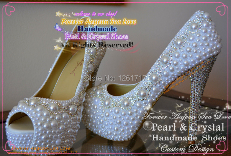 Free Shopping Custom Design Handmade Bling White Crystal Pearl Closed Toe  High Heels Pumps Platform Wedding Bridal Evening Shoes-in Women s Pumps  from Shoes ... e06215f2945b