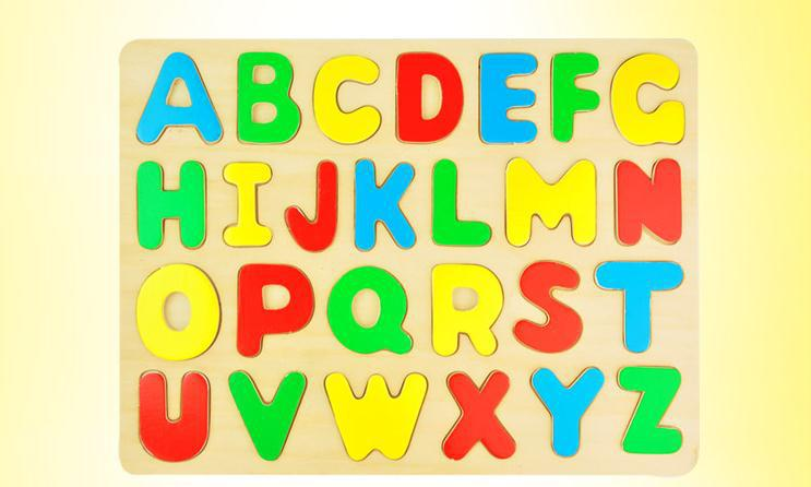 Free shipping Baby Wooden Letter Puzzles, wooden 26 English letters puzzle, childrens educational wooden toys,one piece/gift