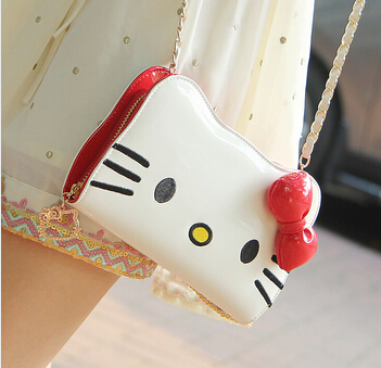 Hello Kitty Wallet PU Leather Long Chains Messenger Bag Purse - Best-Buy Store(min,order $10 store)