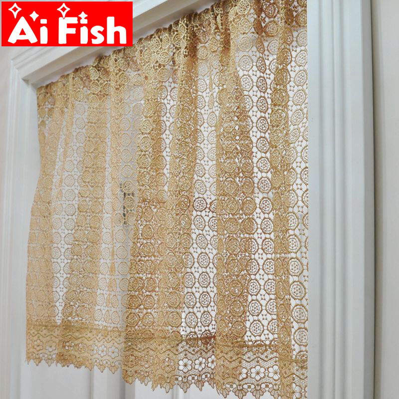 US $29.15 41% OFF|Europe Luxury Coffee Water Soluble Embroidery Bay Window  Decor Short Drapes White Hollow Elegant Kitchen Sheer Curtains MY395 40-in  ...