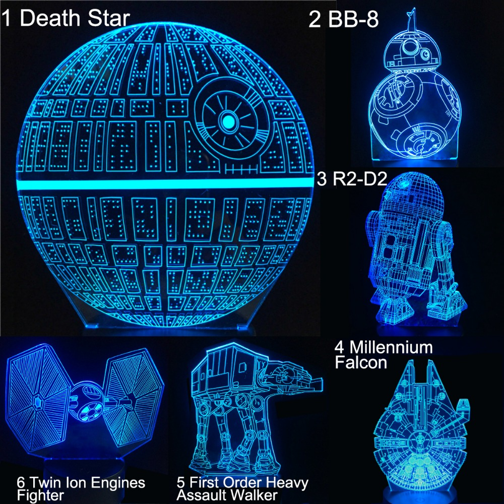 Star Wars Series Death Star BB8 R2D2 Millennium Falcon 3D Led Lamp Creative Christmas Gifts Table Night Light Bedroom Decor