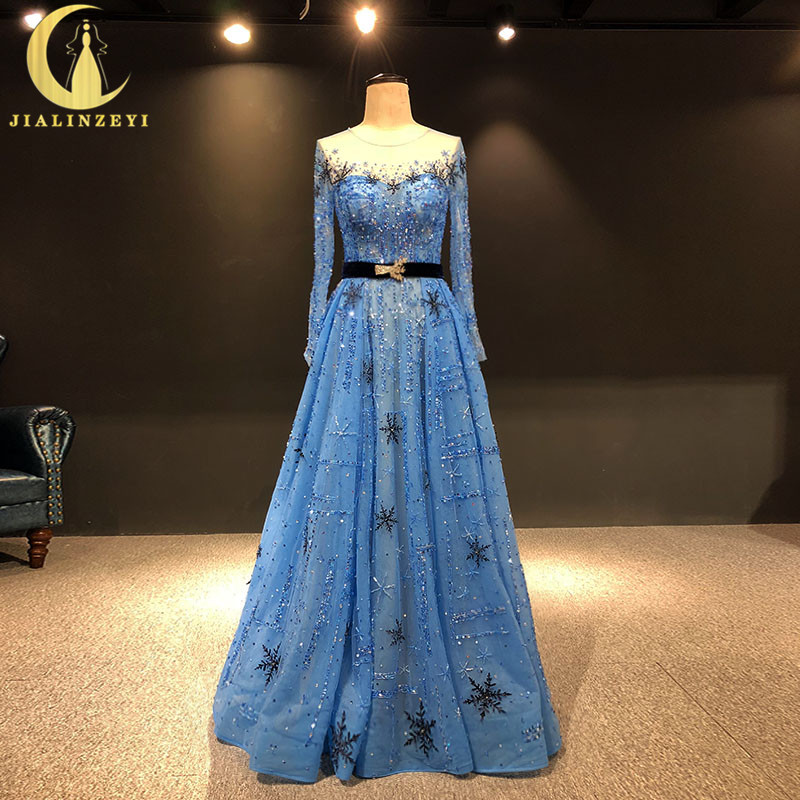 JIALINZEYI Real Image Long Sleeves Beads Crystal Snow Flake Blue Luxurious Vestido De Festa Formal party Dress evening Dresses