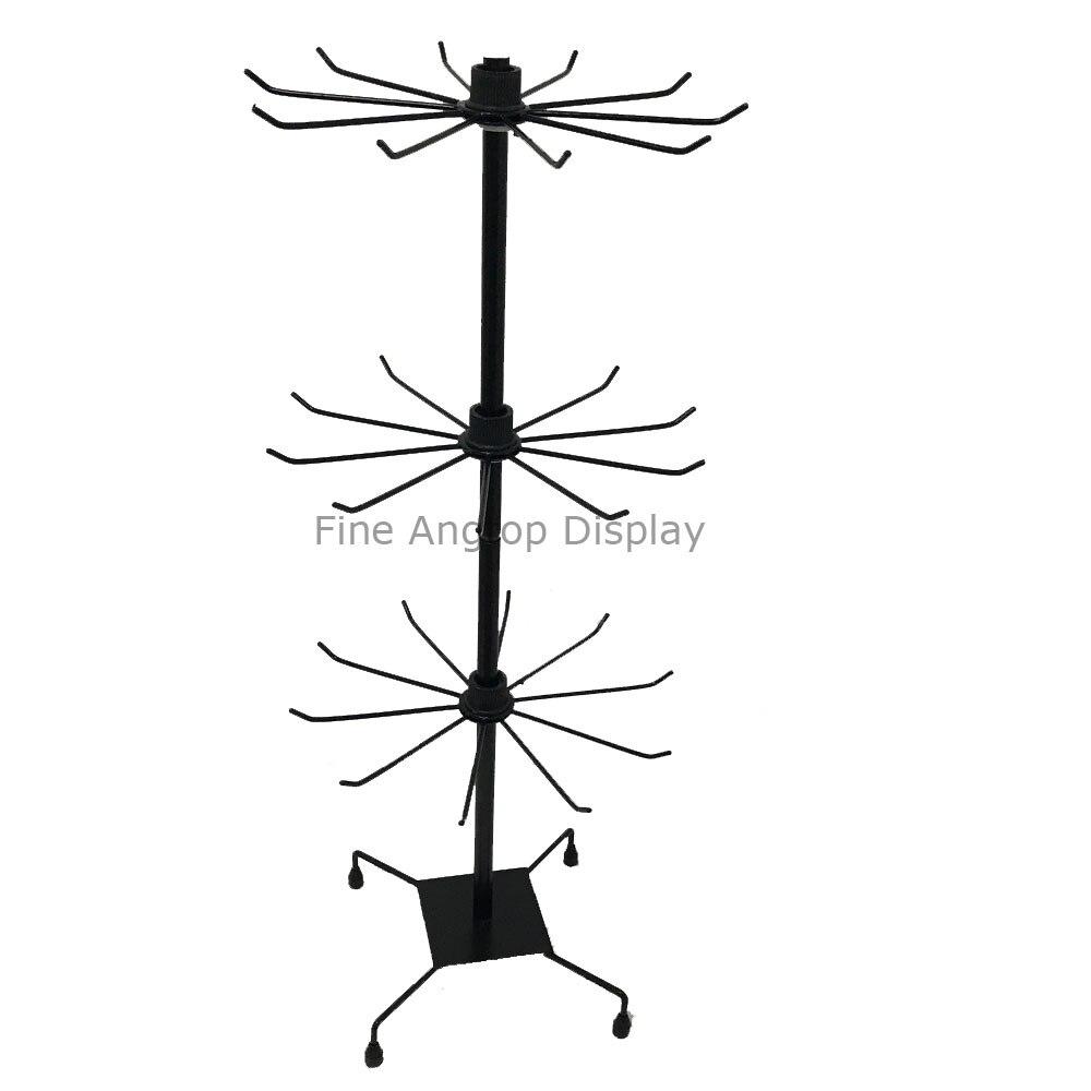 3 niveaux noir bijoux au détail paquet support étagères présentoir rotatif vitrine collier organisateur métal support cintre