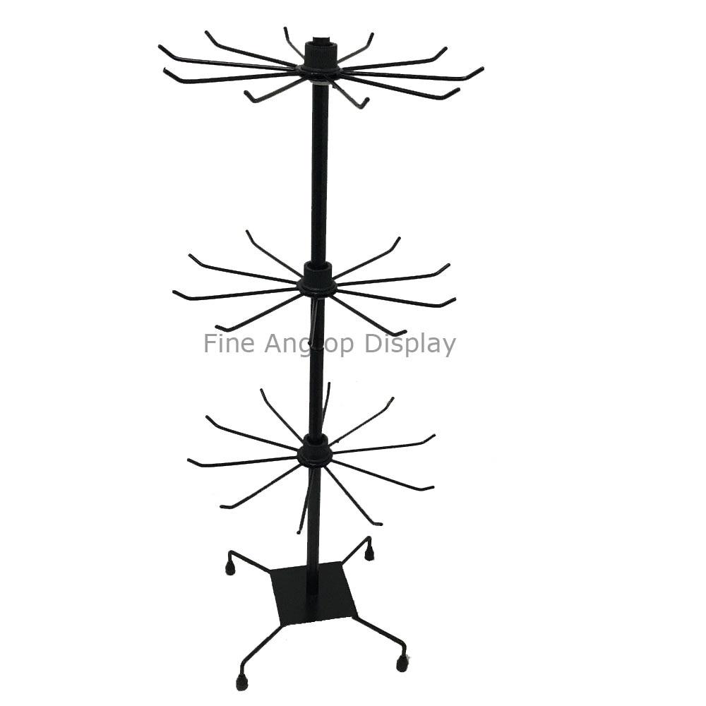 3 niveaux noir bijoux au détail paquet support étagères présentoir rotatif vitrine collier organisateur métal support cintre-in Boîtes et vitrines à bijoux from Bijoux et Accessoires    1