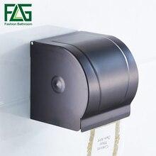 FLG Toilet Paper Holder Rack Wall Mounted Space Aluminum Black Box Bathroom Accessories