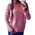 2017 NEW Spring Autumn Fashion Womens Long Sleeve Lace Patchwork Casual Pullover Ladies Sweaters plus size