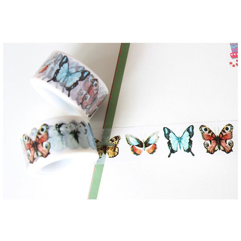 Lovedoki Japanese Butterfly Decorative Adhesive Tape DIY Masking Washi Tape Sticker Planner Diary DIY Tool Cute Gifts Stationery цена и фото