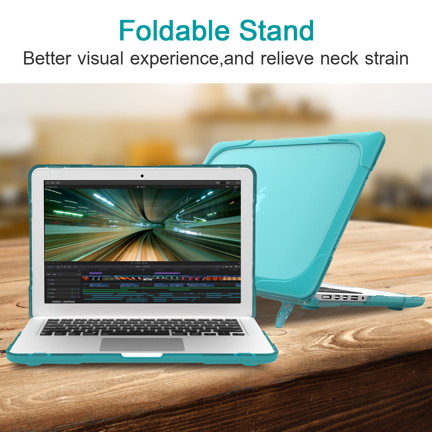 GOOJODOQ Laptop Case For MacBook Air 11 12 13 Pro 13 15 New Air 13 A1932 15.4 Case Shockproof Cover TPU + PC Bumper With Stand