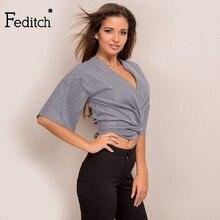Feditch 2017 Summer New Style Women Striped T Shirt Sexy Deep V Neck Half Sleeve Wonder Woman Fashion Women Tops Elegant