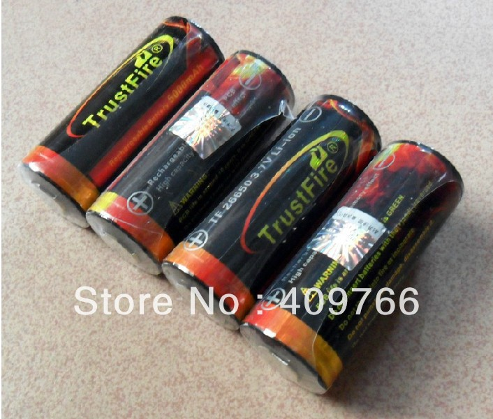 10PCS/LOT TrustFire 5000mAh 26650 3.7v Rechargeable Protected Li-ON Colorful battery batteries Free Shipping