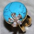 Черная сосна природный камень драгоценный камень белый циркон форма цветка украшения на главном кольце ALW1838
