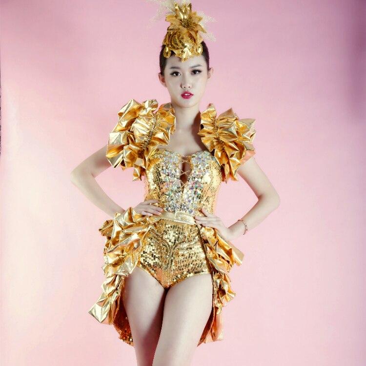 Модель Мода блестят Для женщин пикантные вечерние золотые блестки костюмы сценического танца для ночного клуба певица носить перспектива