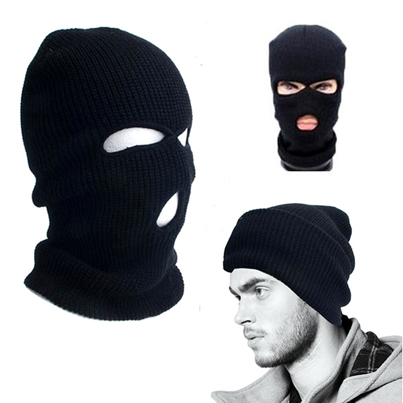 2017 New Full Face Cover Mask Three 3 Hole Balaclava Knit Hat Winter Stretch Snow Mask Beanie Hat Cap New Black Warm Face Masks