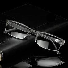 Высокое качество Бизнес человек половина обод металла очки для чтения прямоугольник Пресбиопия считыватель+ 1,25 до+ 3,25