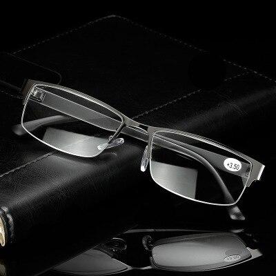 13e48c67a55 High Quality Business Man Half Rim Metal Reading Glasses Rectangle  Presbyopia Reader + 1.25 to +3.25