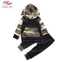 4cc27a7e7f178 Belababy Autumn Spring Infant Clothes Baby Clothing Sets Baby Boys  Camouflage Camo Hoodie Tops Long Pants 2Pcs Outfits Set