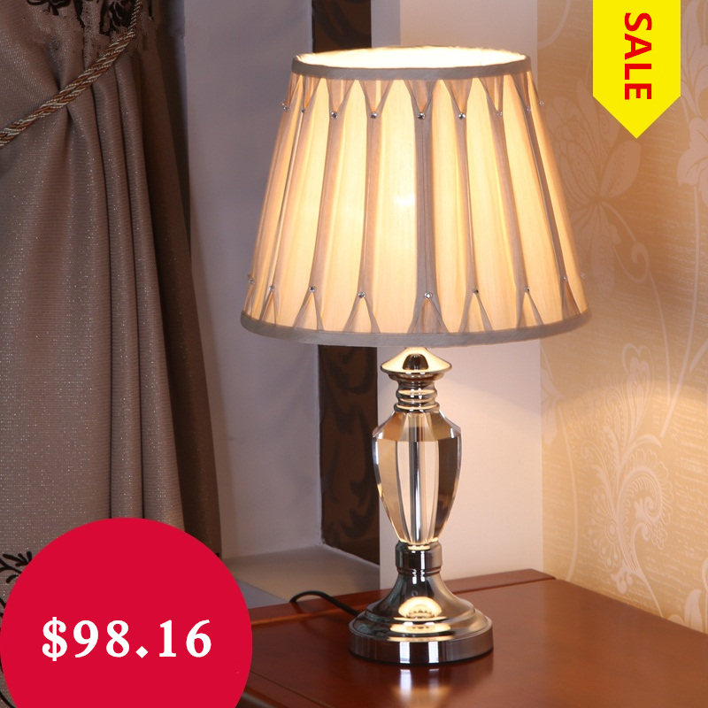Modern crystal table lamp fabric lampshade lampe deco e27 ac 90 260v