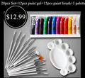 Professional Painting Set 12 Color 3D Multi-Surface Nail Art Paint UV Gel+15pcs Paint Brush Draw Pen+ 1pcs Palette Manicure Tool