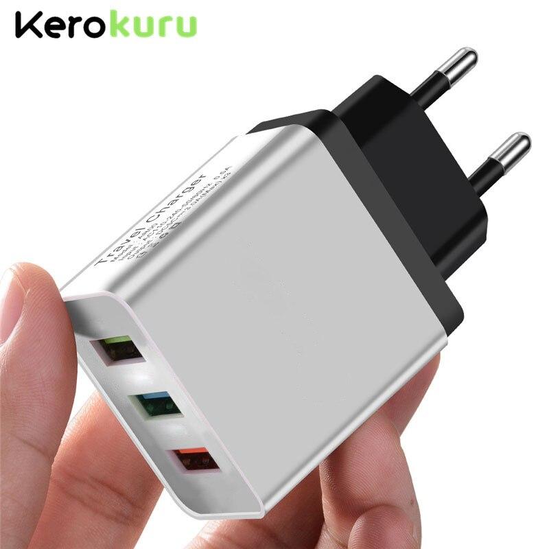 Универсальное настенное зарядное устройство для быстрой зарядки 5 В 3 А 3USB для iPhone XS MAX X Samsung EU Plug 3 Port Phone Charge для Xiaomi