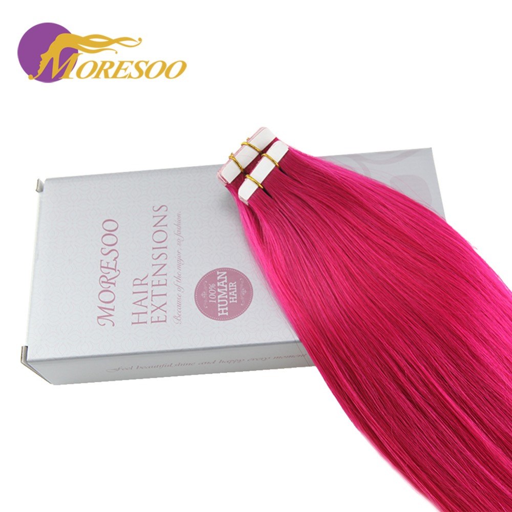 Moresoo 25g/10pcs Colorful Tape In Hair Extensions 100% Remy Human Hair Seamless Tape In Full Head Hair Extensions For Woman