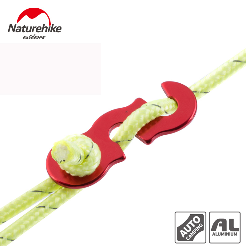 Naturehike 12M Rope And 4pcs/lot Wind Rope Buckle Aluminum Alloy Non-slip Outdoor Tent Rope Adjust Buckle Tent Accessories