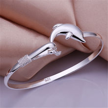 New listing simple fashion package mail silver color accessories elegant women dolphin singlet bangle bracelet(China)