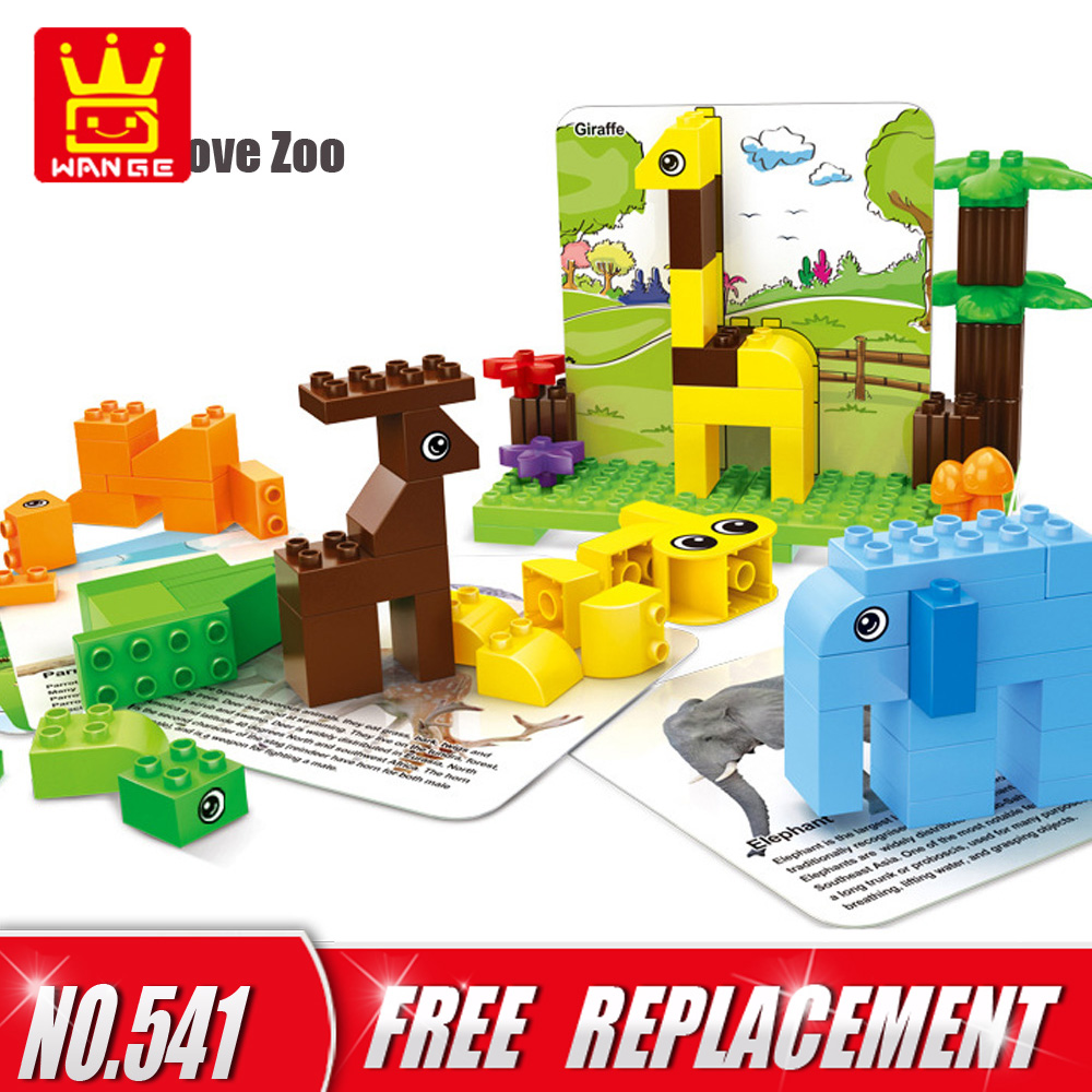 Wange Big Size Dear Zoo Set 100pcs Bricks+10Card DIY Creative Building Blocks Educational Kids Toys Baby Gifts for 1.5Y Above wange educational learning toys kids diy set toys cars plastic model kits building bricks blocks for boys 4 in 1 with motor