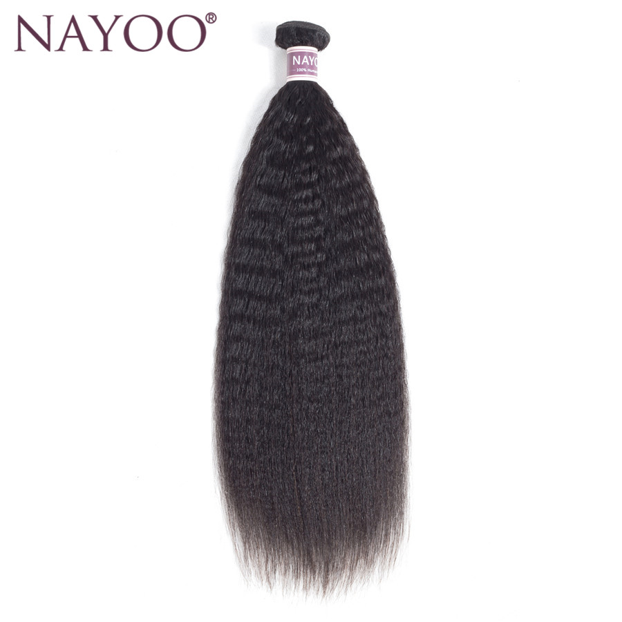 NAYOO Brazilian Kinky Straight 100% Human Hair Weave Bundles Non-Remy Hair Extension Natural Color 8-26 Inch Can Buy 3/4 Bundles