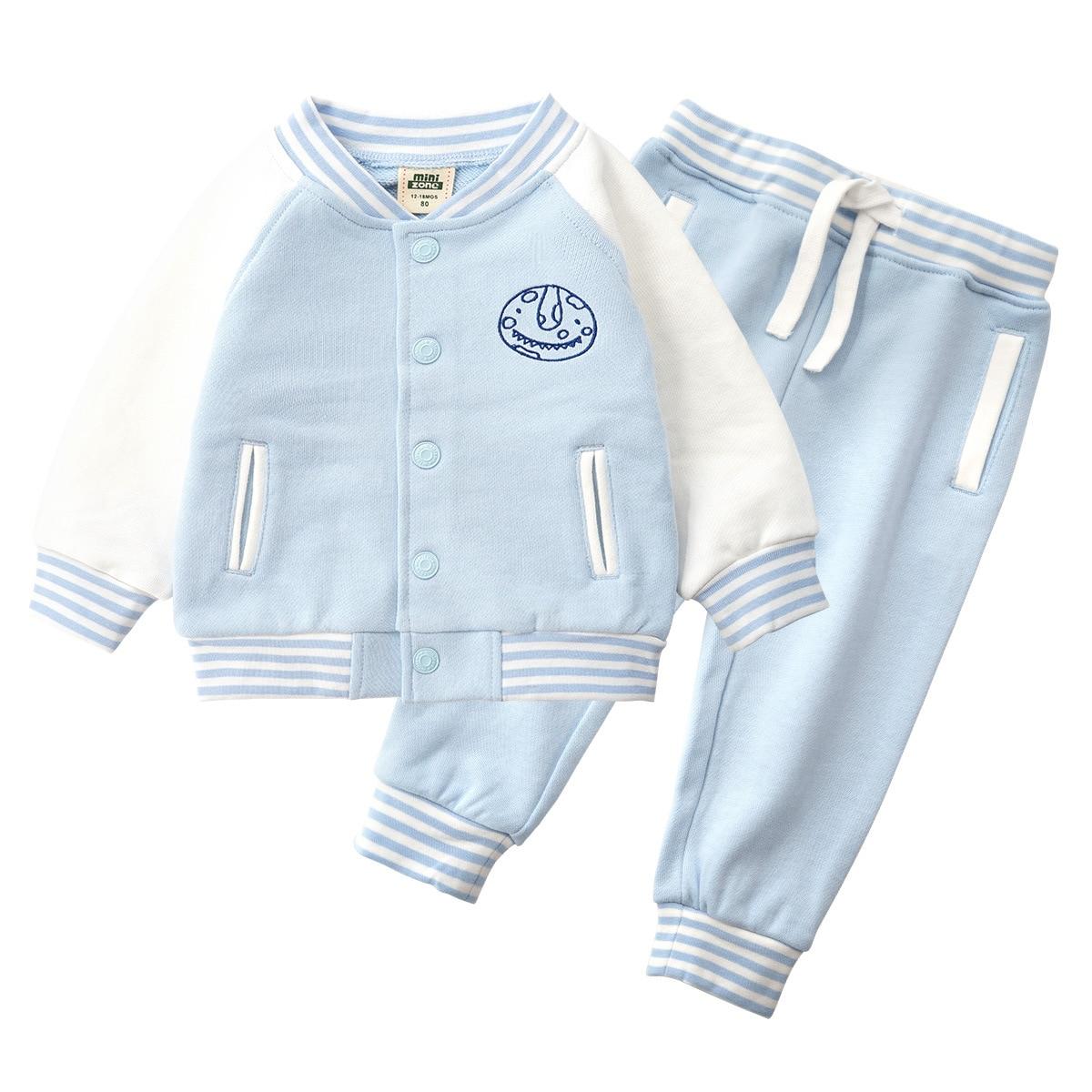 цена на 2018 Children Baseball Suit 2-piece set Baby Boy Sports Sweater Autumn Unisex Active Print Suits cotton warm fasion outer wear