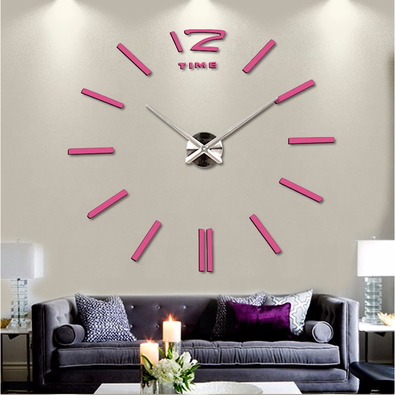 Fashion 3D Big Size DIY Mirror Wall Clock Brief Living Room House Home Beautiful Creative Decor