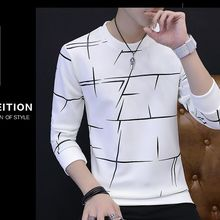 Vieruodis#87 осень мужской шеи с длинными рукавами рубашка плюс свитер тонкий белый корейский студентов теплый осенний Джерси