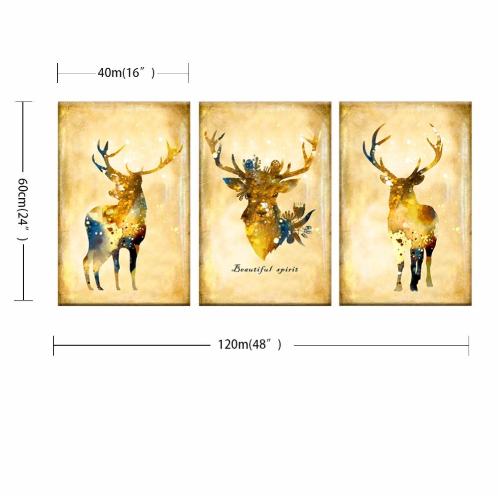 3 Piece Nordic Vintage Gold Deer Head Animals Silhouette Big Art ...