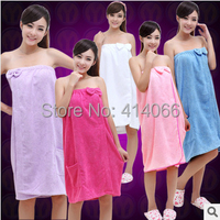 Envío gratis colores seleccione 80 * 120 cm 280 g/pcs microfibra señora toalla de tela toalla albornoz baños elástico del arco nudo de baño