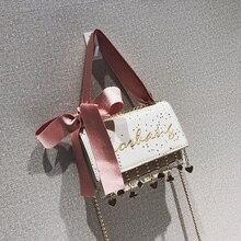 Блестками Сумки 2018 Новая мода ленты лук небольшой площади сумка из искусственной кожи высокого качества милые Для женщин сумка кисточкой цепи сумка