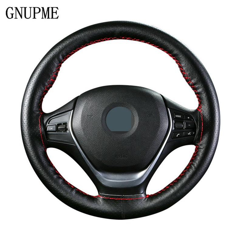 GNUPME Hand-Stitched Steering Wheel Cover 36-40cm DIY Leather Braid on the With Needles Thread Car-Styling Steering Covers